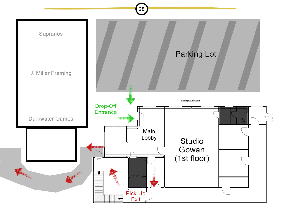 Studio Gowan entrance/exit plan