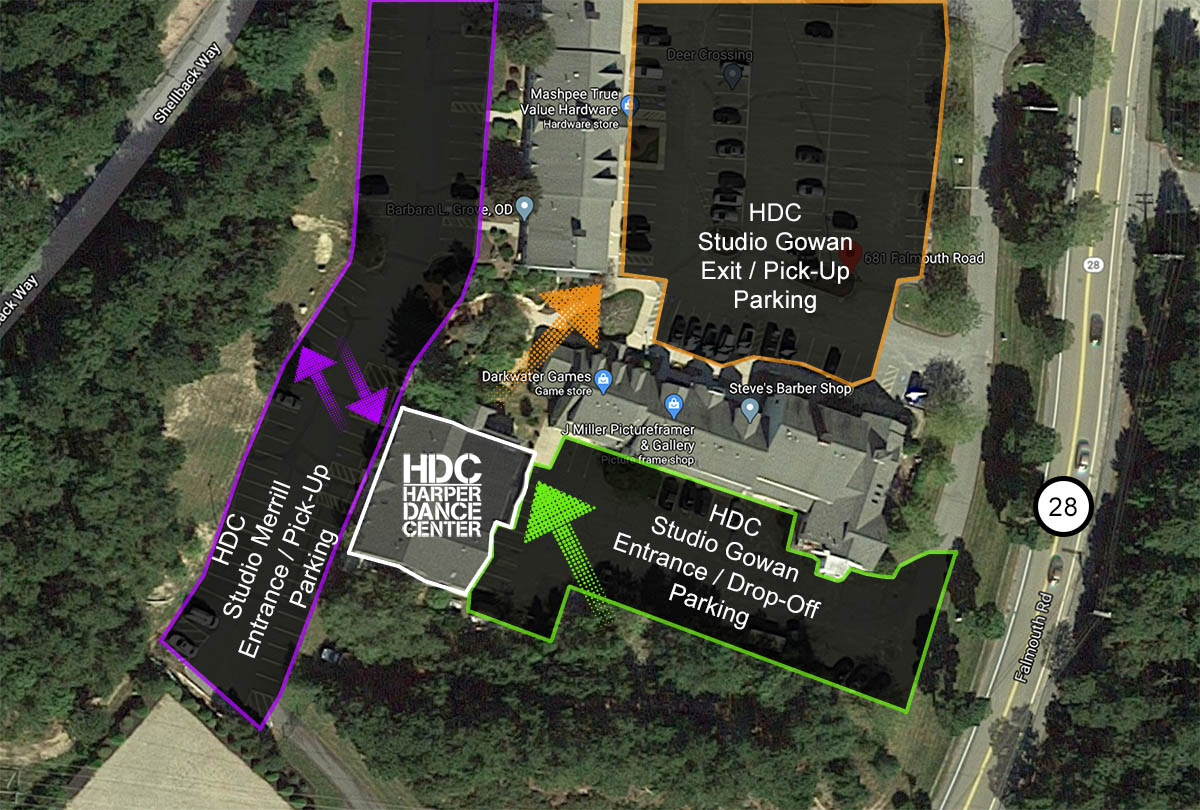 Entrance, exit, and parking plan